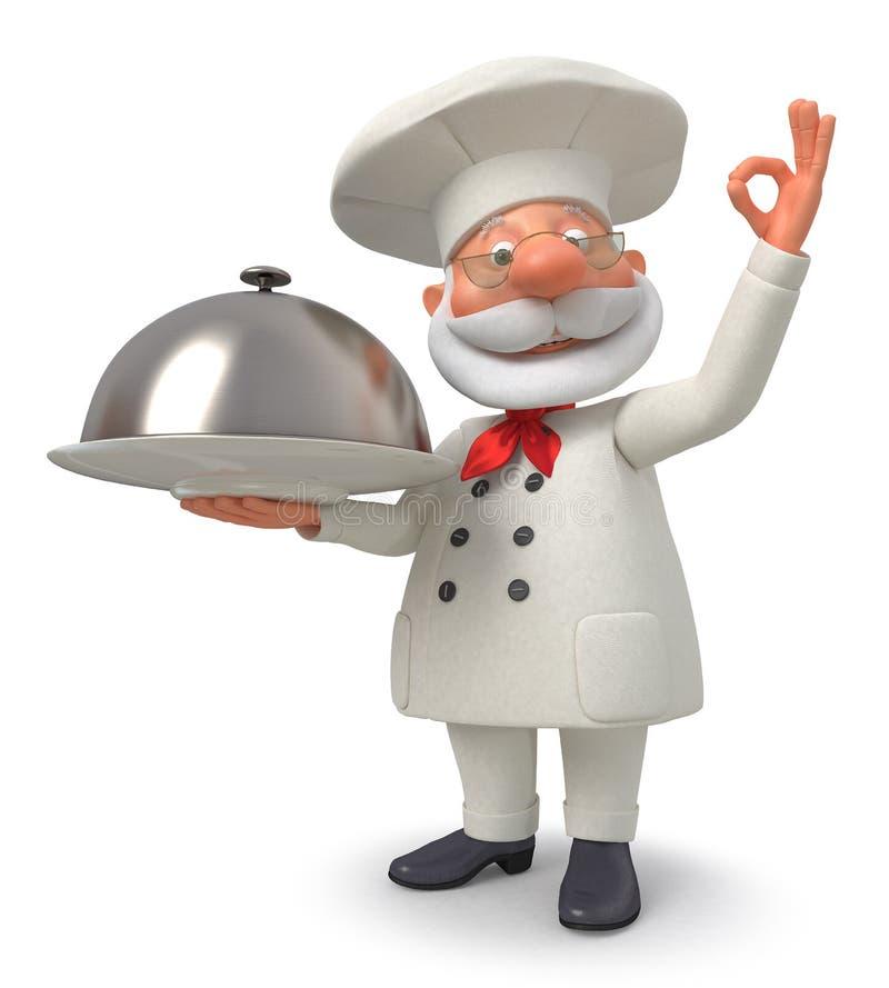 3d ilustracja kucharz z naczyniem ilustracja wektor
