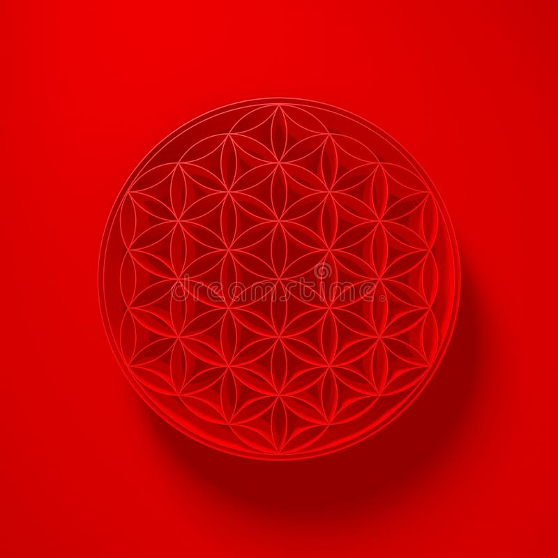 3D ilustracja - kwiat życie znak z światłem above na czerwieni ilustracji