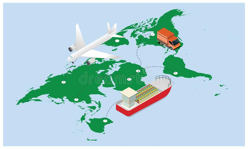 3D ilustracja lotniczy ładunku tropić, drogowy transport i mariti, ilustracja wektor