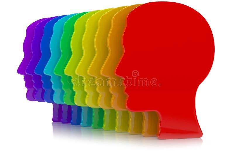 3d ilustracja ludzkiej głowy sylwetka z tęczą barwi ilustracji