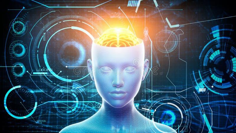 3 d ilustracja mężczyzny mózg z graficznymi elementami i głowa Sztucznej inteligenci i Maszynowego uczenie pojęcie ilustracja wektor