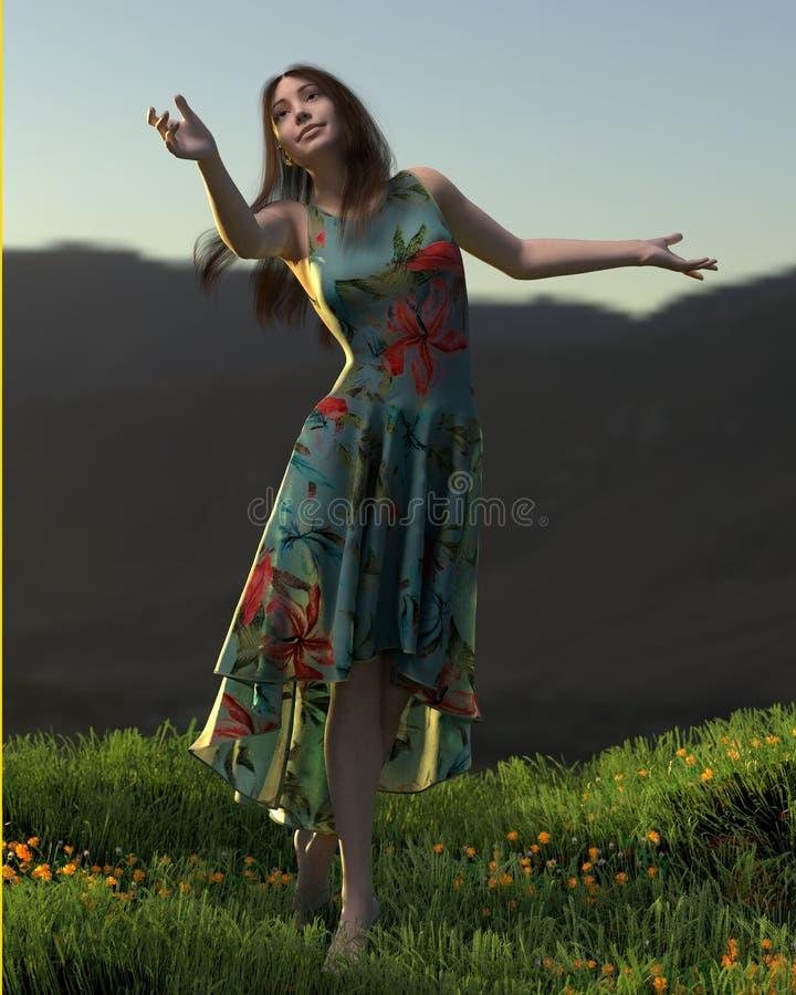 3d ilustracja młoda kobieta cieszy się zmierzch ilustracji