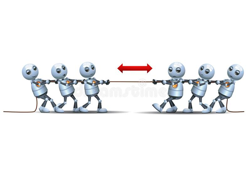 3d ilustracja małych robotów wyzwania zespołowe w grze bandyckiej ilustracji