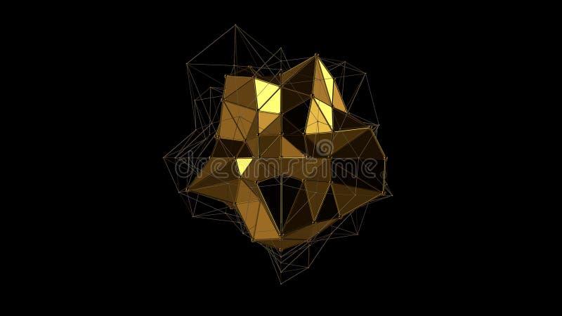 3D ilustracja metalu złocisty kryształ nieregularny kształt, niska poligonalna abstrakcjonistyczna postać na czarnym tle, futurys ilustracji