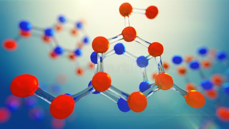 3d ilustracja molekuła model Nauki tło z molekułami i atomami ilustracja wektor