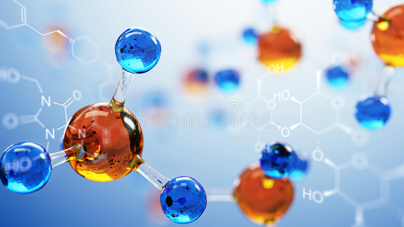 3d ilustracja molekuła model Nauki tło z molekułami i atomami royalty ilustracja