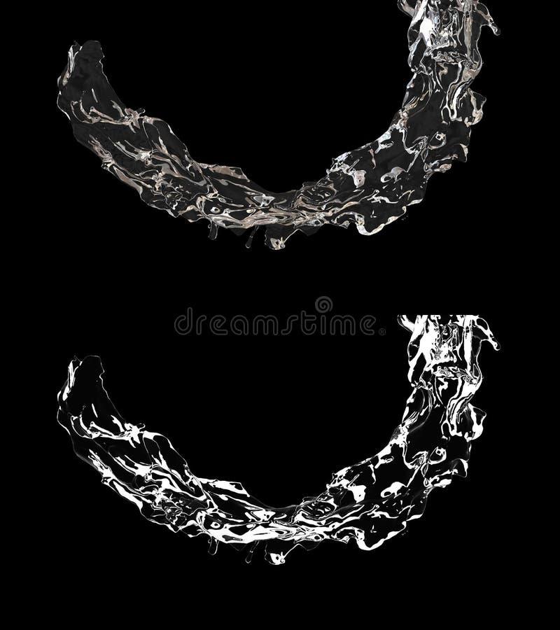 3D ilustracja nawadnia przepływ z alfa warstwą royalty ilustracja