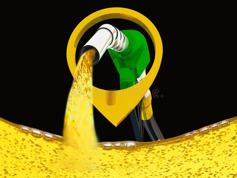 3D ilustracja, nozzle pompuje benzyn? w zbiorniku paliwowego nozzle dolewania benzyna nad bia?ym t?em, ilustracji