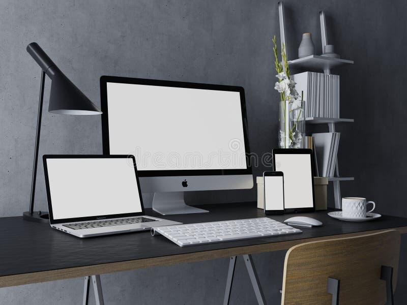 3d ilustracja odpłaca się mockup projekt czysty biały monitoru ekran dla twój sieć projekta zapowiedzi na popielatej nowożytnej m ilustracja wektor