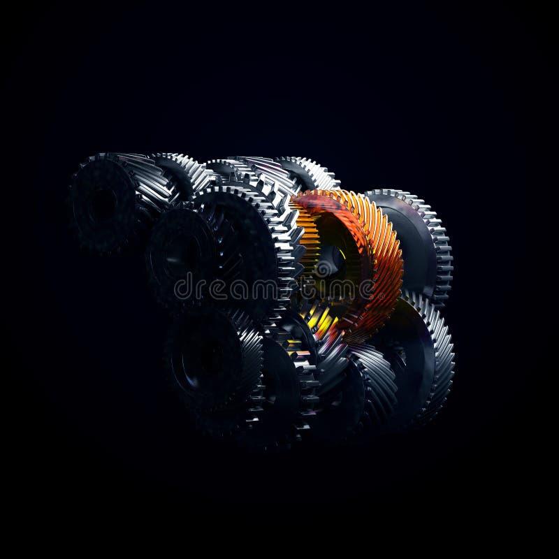 3d ilustracja parowozowi przekładni koła, zbliżenie widok fotografia stock