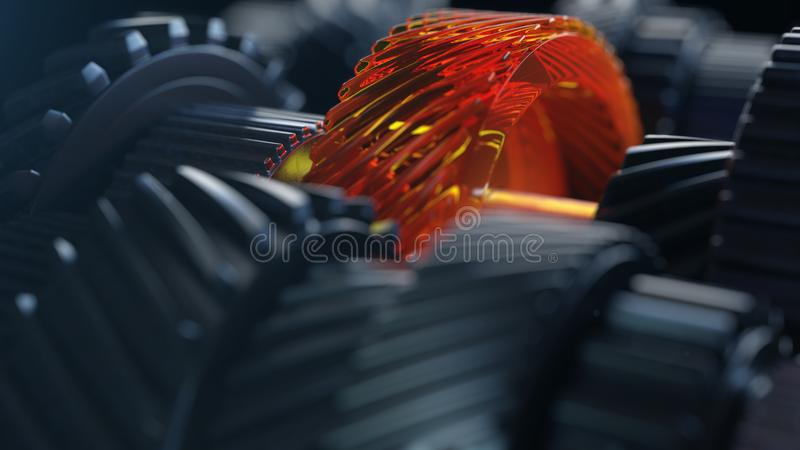 3d ilustracja parowozowi przekładni koła, zbliżenie widok zdjęcia stock