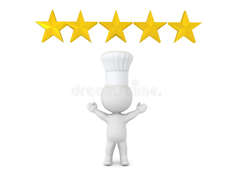 3D ilustracja pięć gwiazdowy szef kuchni royalty ilustracja