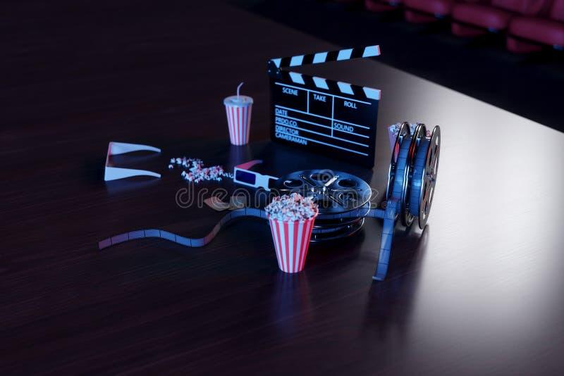 3D ilustracja popkorn, napoje, clapperboard, filmstrip i dwa bileta, Kinowy pojęcie z błękita światłem przewodniczy czerwony ilustracja wektor