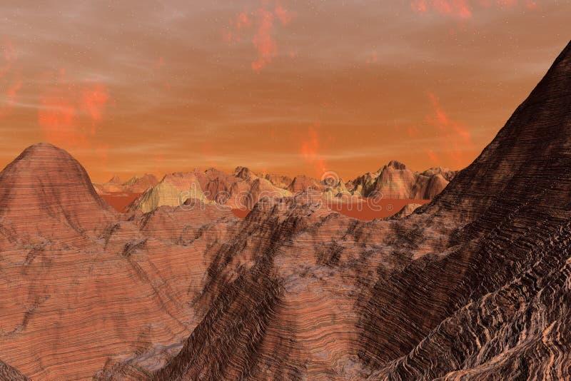 3D ilustracja powierzchnia planeta Mąci royalty ilustracja