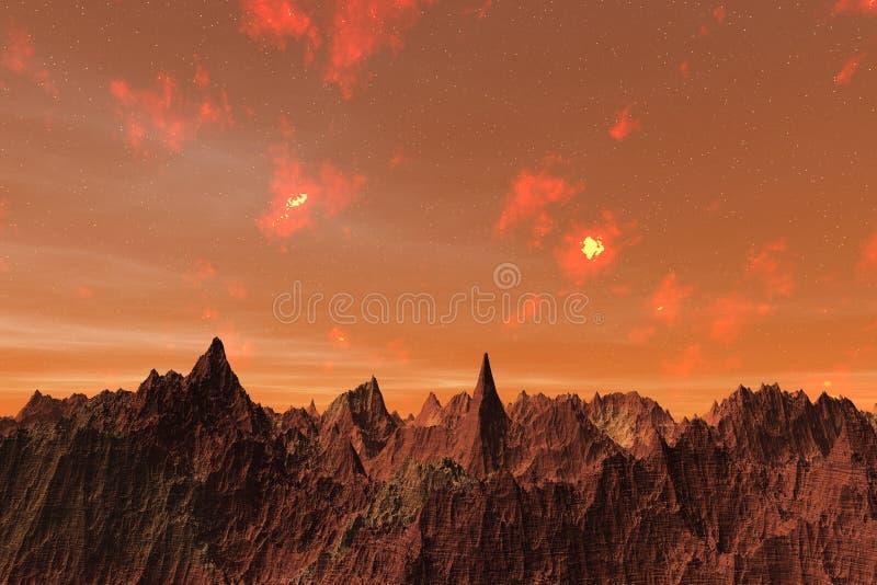 3D ilustracja powierzchnia planeta Mąci ilustracji