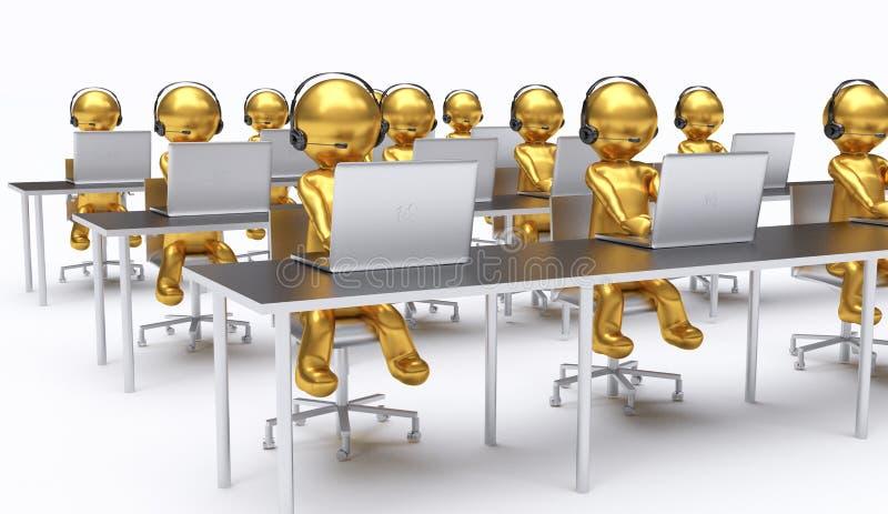 3D ilustracja, pracownicy pracuje w centrum telefonicznym royalty ilustracja