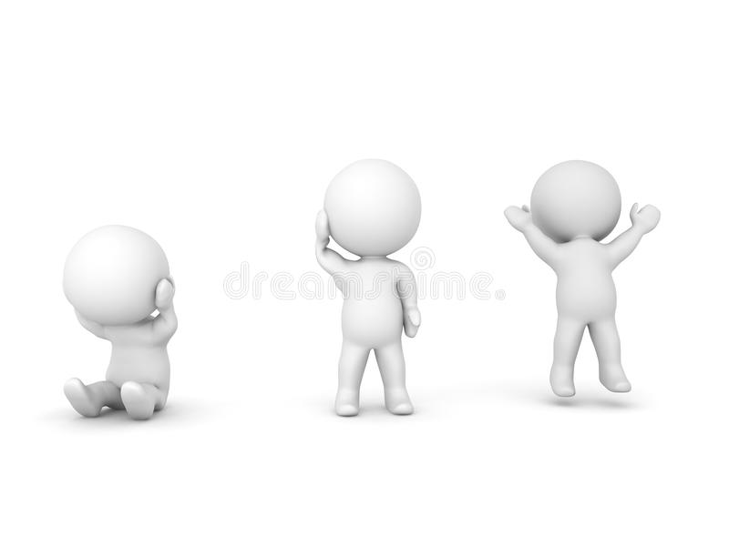 3D ilustracja przygnębiony charakter, jeden wprawiać w zakłopotanie ilustracji