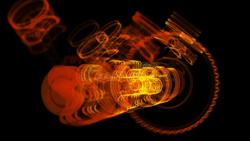 3D ilustracja robić stal nierdzewna żelazna molekuła zdjęcie royalty free