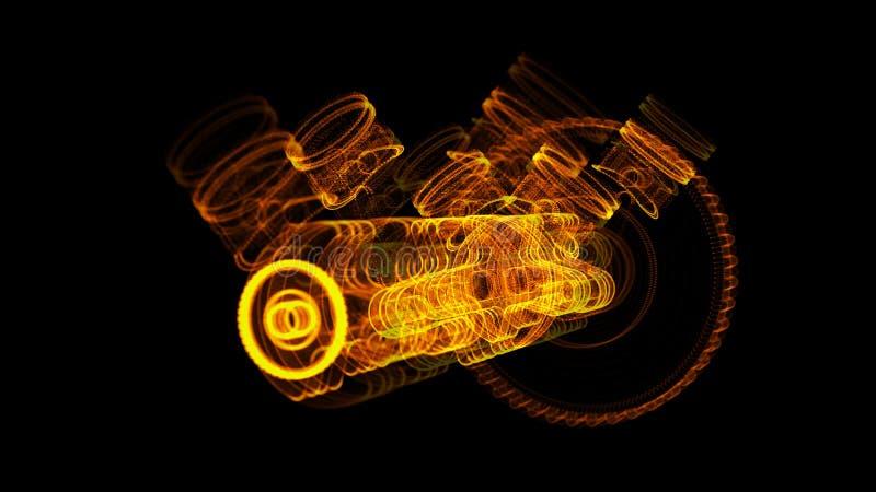 3D ilustracja robić stal nierdzewna żelazna molekuła zdjęcia royalty free