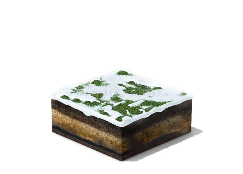 3d ilustracja sekcja zimy ziemia z trawą pod śniegiem ilustracja wektor