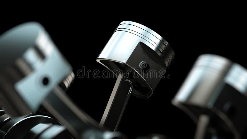 3d ilustracja silnik Motorowe części jako crankshaft, tłoki, przekładnie royalty ilustracja