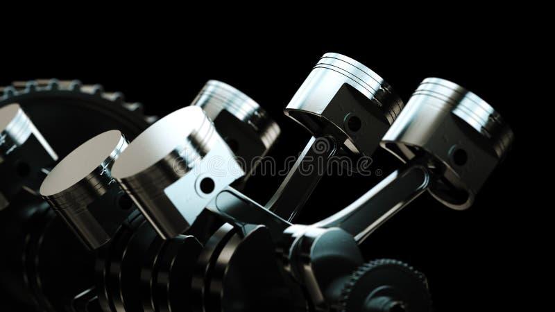 3d ilustracja silnik Motorowe części jako crankshaft, tłoki, przekładnie zdjęcia royalty free
