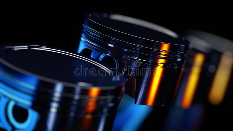 3d ilustracja silnik Motorowe części jako crankshaft, tłoki w ruchu ilustracji