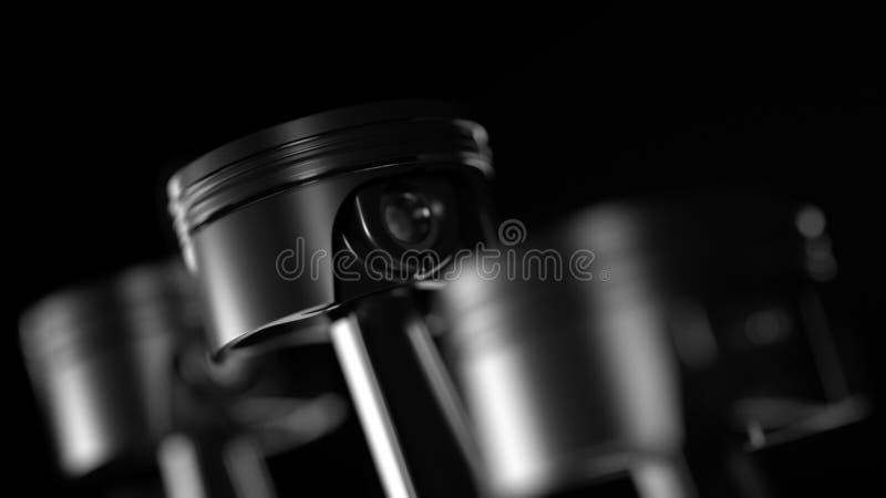 3d ilustracja silnik Motorowe części jako crankshaft, tłoki w ruchu ilustracja wektor