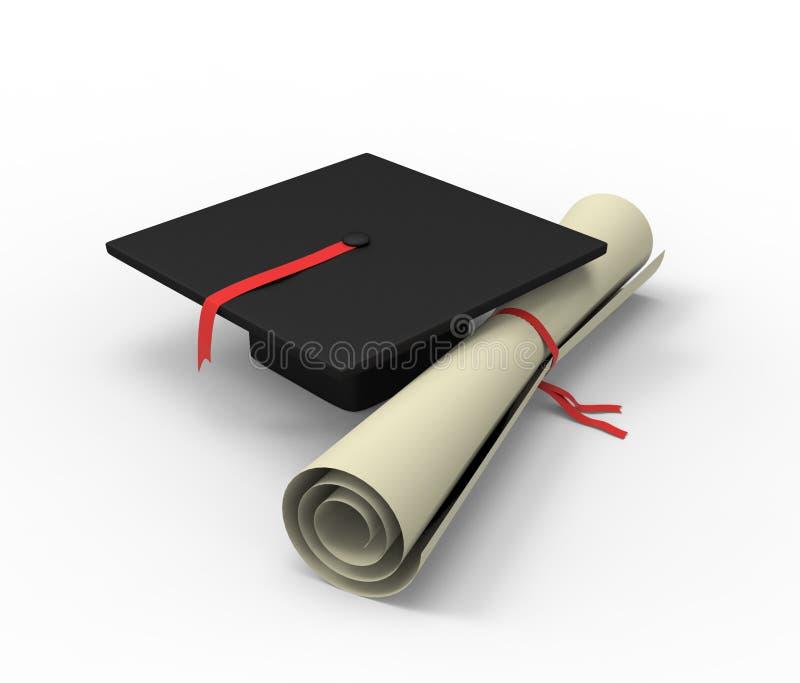 3d ilustracja skalowanie nakrętka z dyplomem royalty ilustracja