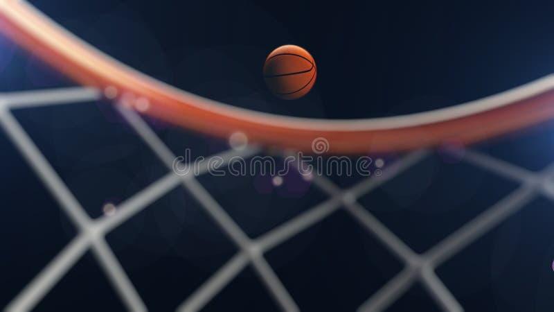 3D ilustracja spada w obręczu koszykówki piłka royalty ilustracja