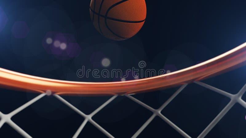 3D ilustracja spada w obręczu koszykówki piłka ilustracja wektor