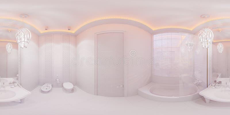 3d ilustracja 360 stopni panoramy łazienki ilustracji
