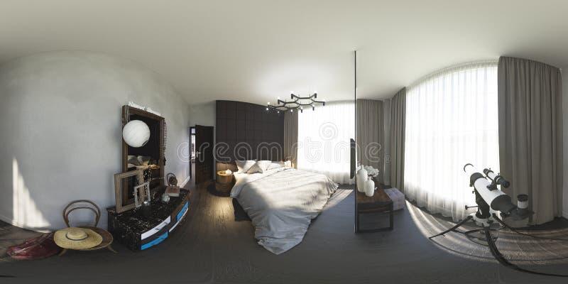 3d ilustracja 360 stopni panoramy sypialnia ilustracji