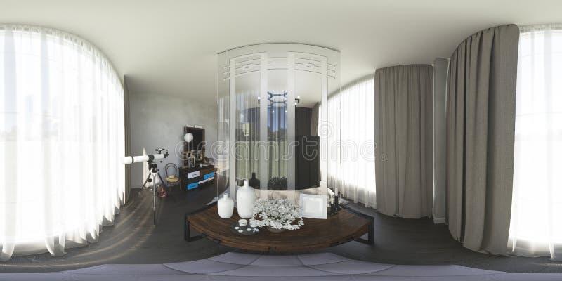 3d ilustracja 360 stopni panoramy sypialnia ilustracja wektor