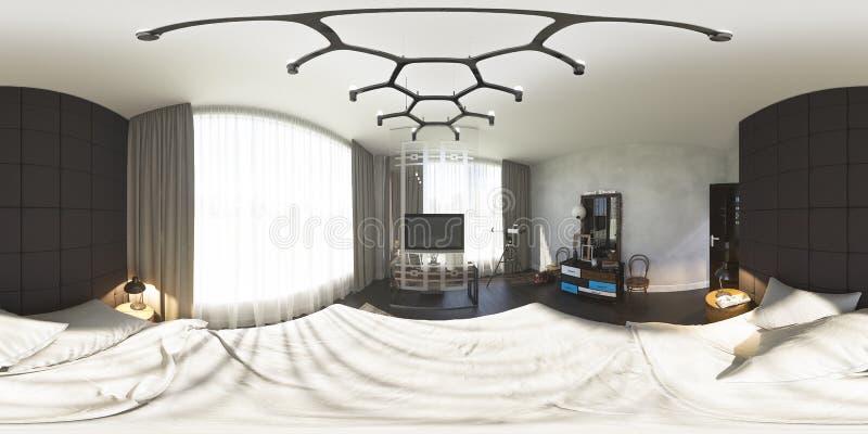 3d ilustracja 360 stopni panoramy sypialnia royalty ilustracja