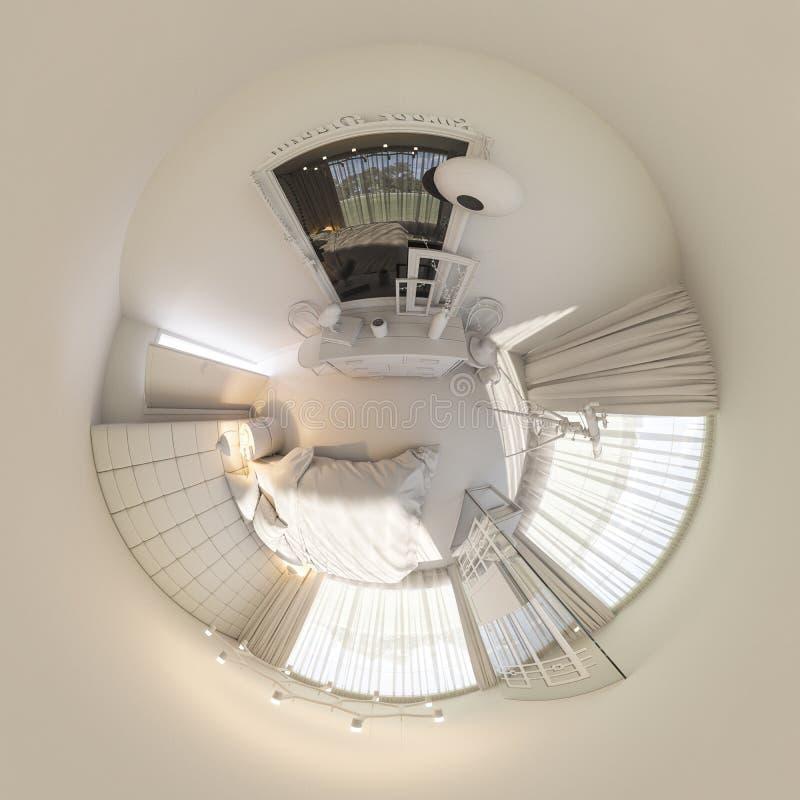 3d ilustracja 360 stopni panoramy sypialnia wewnętrzny projekt ilustracja wektor