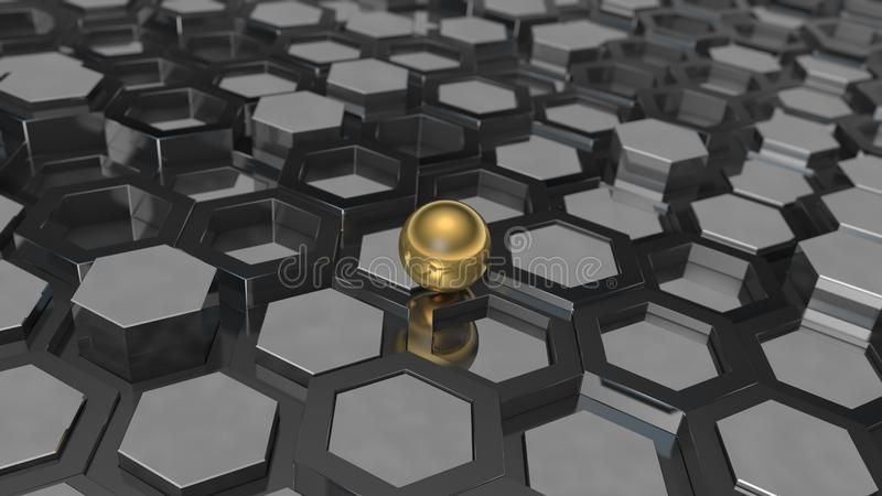 3D ilustracja tło wielość platyna metal i złoto piłka, sfera Pomysł biznes, bogactwo i prosp, ilustracja wektor