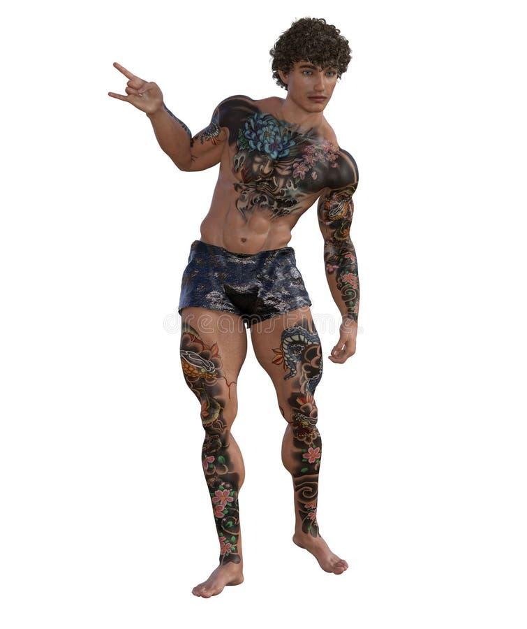 3D ilustracja tatuujący mięśniowy mężczyzna ilustracja wektor