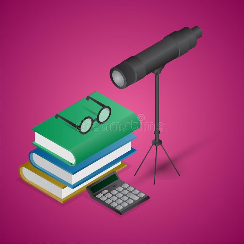3D ilustracja Teleskopu z książkami, Eyeglasses i Kalkulatorem ilustracji
