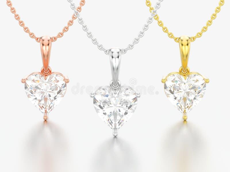 3D ilustracja trzy żółty, różany biały złoto i i royalty ilustracja