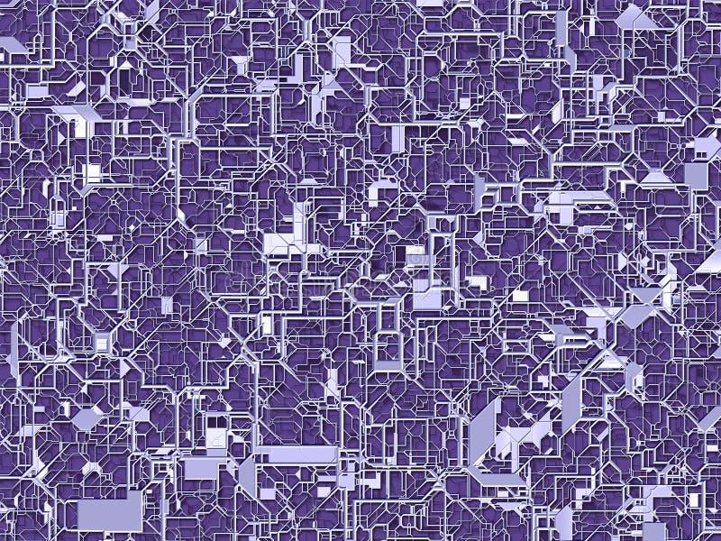 3D ilustracja ultrafioletowy sieci circuitry ilustracji
