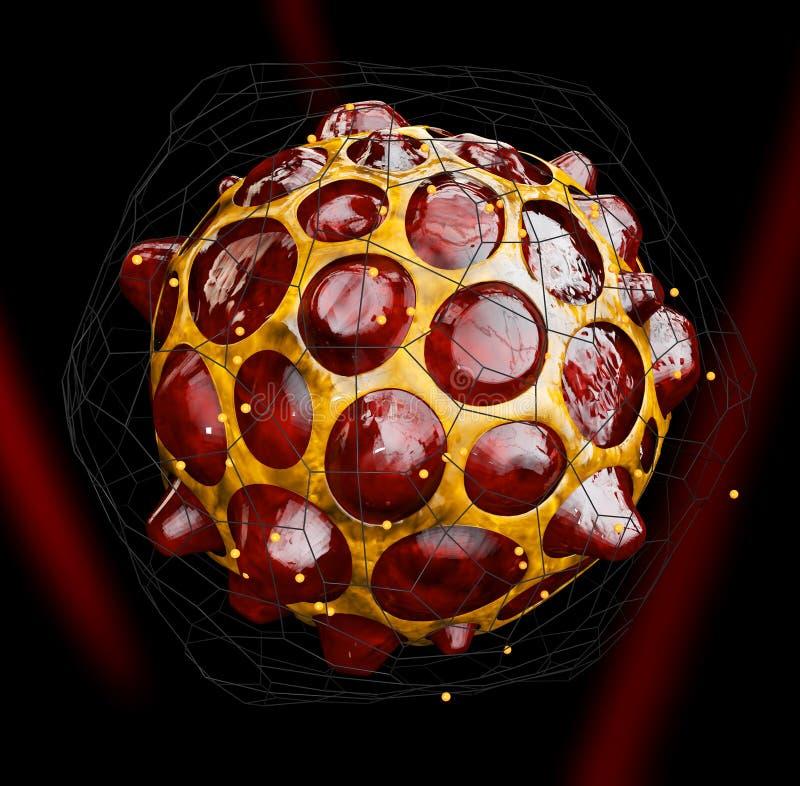 3d ilustracja wirus lub bakterie, czarny tło ilustracja wektor