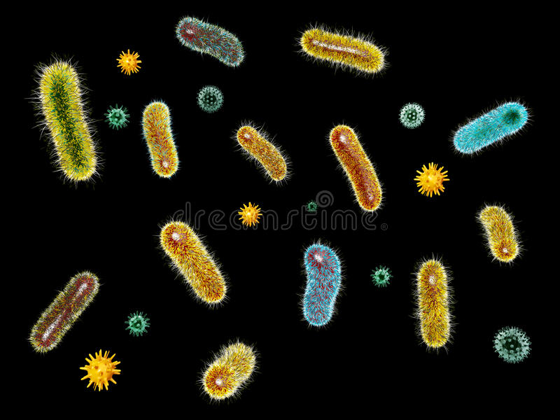 3d ilustracja Wirusowe bakterie Mikroorganizmy i bakcyl ilustracja wektor