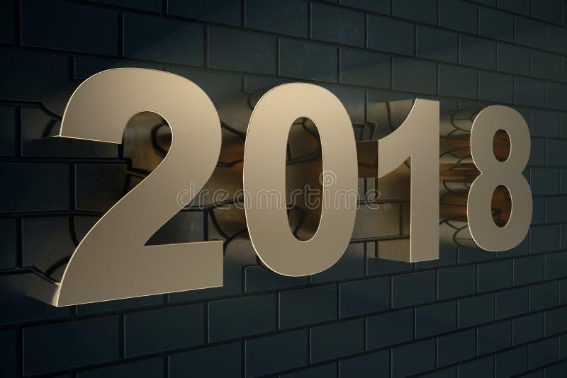 3d ilustracja złoty tekst na czarnym tle z odbiciem na podłoga 3d 2018 teksta szczęśliwy nowy rok Złoto ilustracji