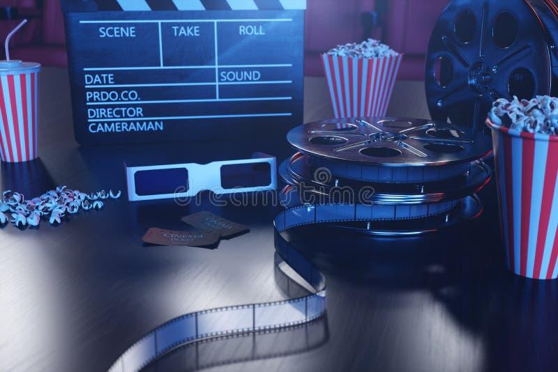 3D ilustracja z popkornem, kinowa rolka, clapperboard i dwa bileta z błękitem, zaświecamy Pojęcie teatr i ilustracji