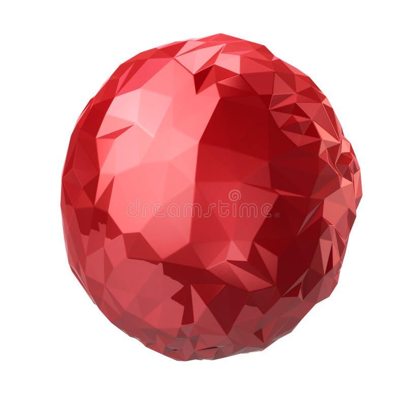 3d ilustracyjna czerwona krystaliczna sfera ilustracja wektor