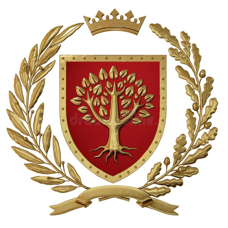 3D ilustracyjna heraldyka, czerwony żakiet ręki Złota gałązka oliwna, dąb gałąź, korona, osłona, drzewo Isolat zdjęcia royalty free