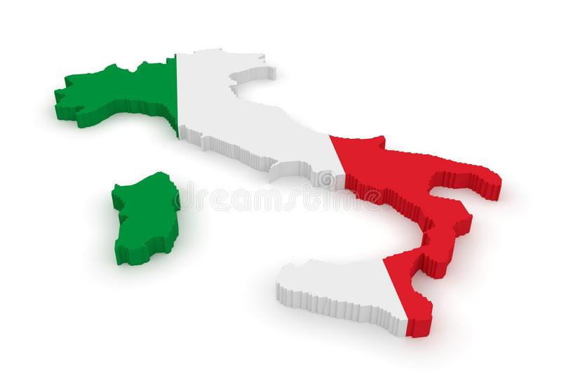 3d Ilustracyjna mapa Włochy, włoszczyzny flaga Na Białym tle ilustracji
