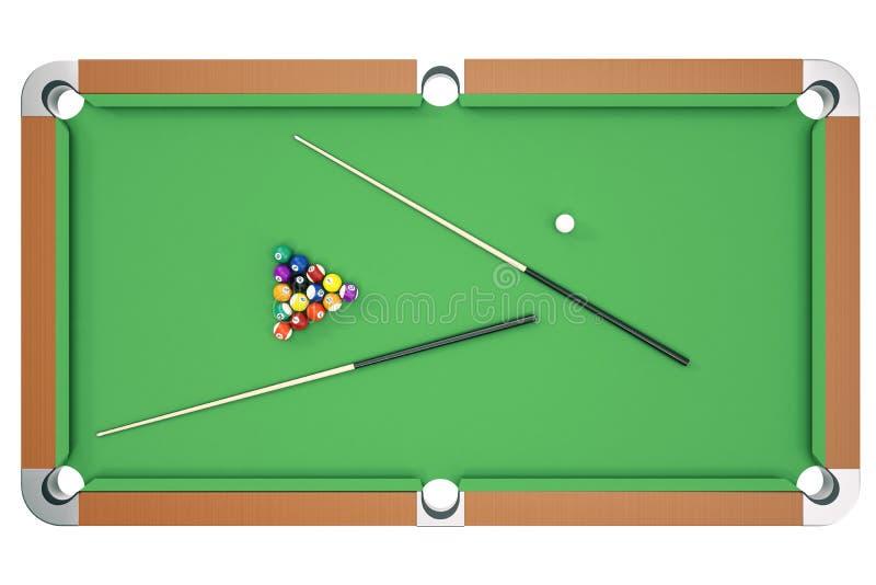3D ilustracyjne Bilardowe piłki na zielonym stole z bilardową wskazówką, snooker, basen gra, Bilardowy pojęcie Odgórny widok ilustracji
