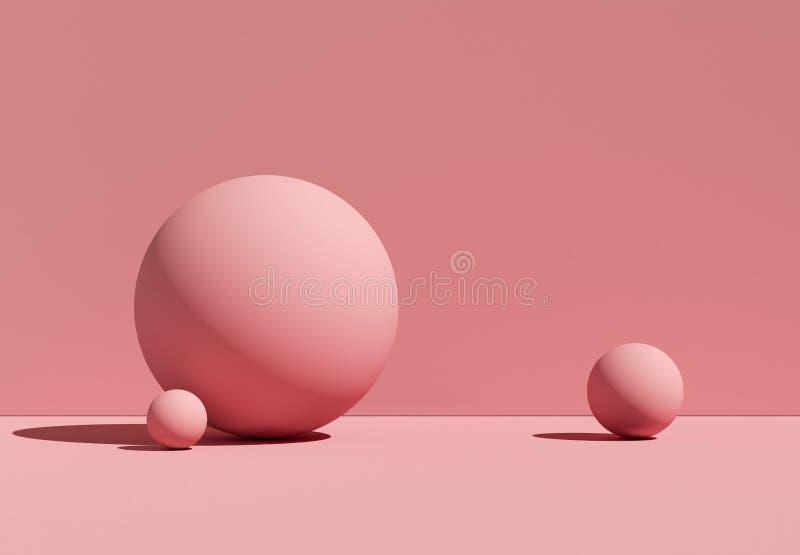 3D ilustracyjne geometryczne piłki abstrakcyjny tło Mockup royalty ilustracja